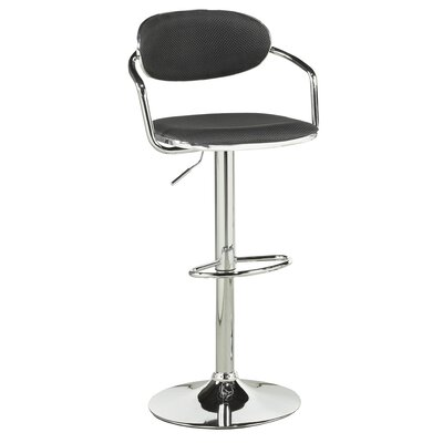Beverly Adjustable Height Swivel Bar Stool Upholstery: Black