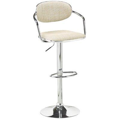 Beverly Adjustable Height Swivel Bar Stool Upholstery: Beige
