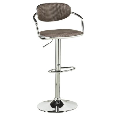 Beverly Adjustable Height Swivel Bar Stool Upholstery: Brown