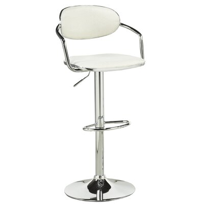 Beverly Adjustable Height Swivel Bar Stool Upholstery: White