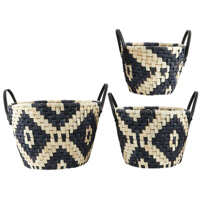 House Doctor Everyday 2016 3 Piece Graphic Basket Set
