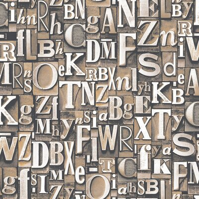 Galerie Home Steampunk Typography 10m L x 53cm W Roll Wallpaper