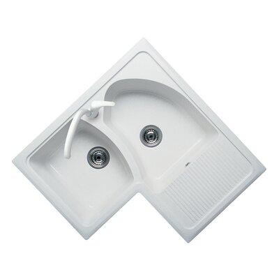 DeltaSRL Domino 83cm x 83cm Corner Kitchen Sink