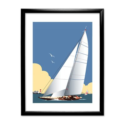 Breakwater Bay Sailing Boat by Dave Thompson Framed Graphic Art