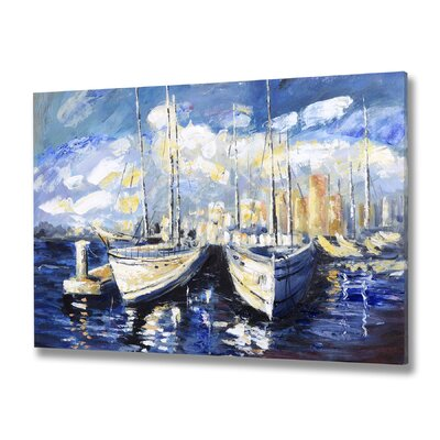 Breakwater Bay Sky Boat Art Print Wrapped on Canvas