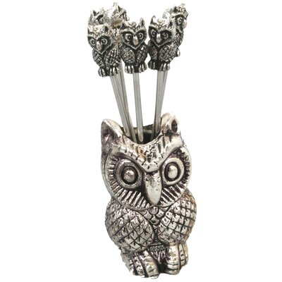Aulica 7-Piece Olive Picks Owl Utensil Set