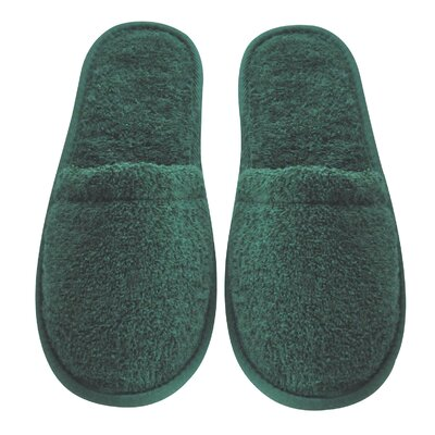 Women's Turkish Terry Cotton Cloth Bath Slippers Color: Hunter Green