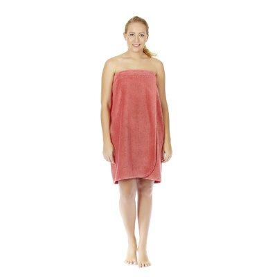 "Women's Adjustable Closure on Chest Turkish Spa Shower Bath Wrap Color: Coral, Size: 59"" L x 30"" W"