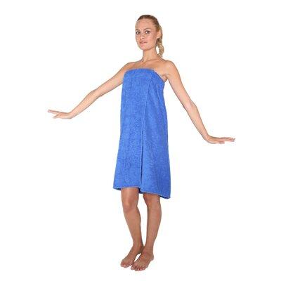 "Women's Adjustable Closure on Chest Turkish Spa Shower Bath Wrap Color: Royal, Size: 59"" L x 30"" W"