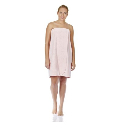 "Women's Adjustable Closure on Chest Turkish Spa Shower Bath Wrap Color: Pink, Size: 61"" L x 33"" W"