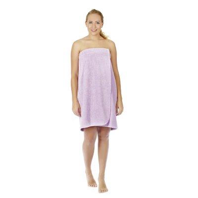 "Women's Adjustable Closure on Chest Turkish Spa Shower Bath Wrap Color: Lilac, Size: 61"" L x 33"" W"