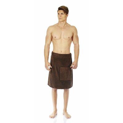 "Men's Adjustable Closure on Waist Turkish Organic Cotton Spa Shower Bath Wrap Color: Chestnut, Size: 26"" W"