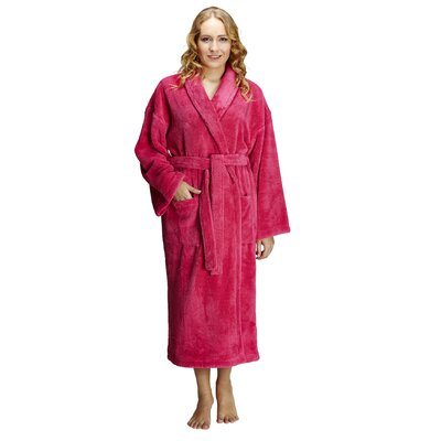 Geneve Women's Shawl Soft Touch Plush Bathrobe Size: Small, Color: Coral