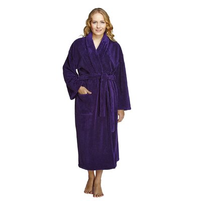 Geneve Women's Shawl Soft Touch Plush Bathrobe Size: Small, Color: Purple