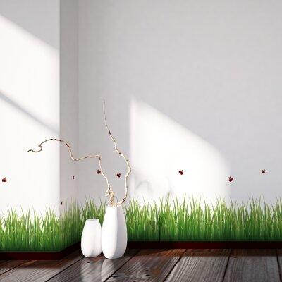 Crearreda Home Decor Line Grass and Ladybugs Wall Sticker