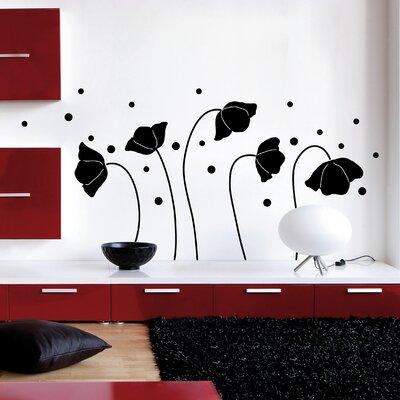 Crearreda Home Decor Line Flowers Silhouette Wall Sticker