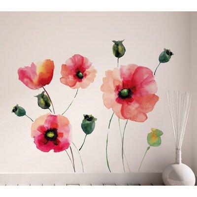 Crearreda Home Decor Line Watercolour Poppies Wall Sticker