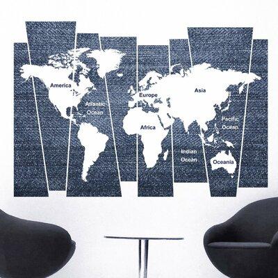 Crearreda Home Decor Line Denim World Map Wall Sticker