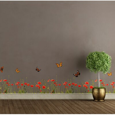 Crearreda Home Decor Line Poppies and Butterflies Wall Sticker