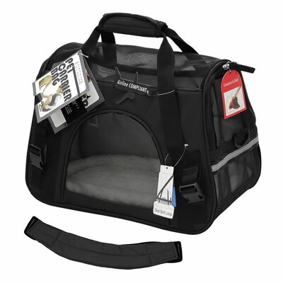 """Pet Carrier with Fleece Bed Airline Approved Color: Black, Size: 17"""" H x 8"""" W x 11.5"""" D"""