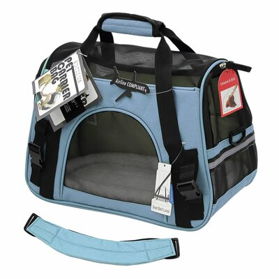 """Pet Carrier with Fleece Bed Airline Approved Color: Blue, Size: 17"""" H x 8"""" W x 11.5"""" D"""