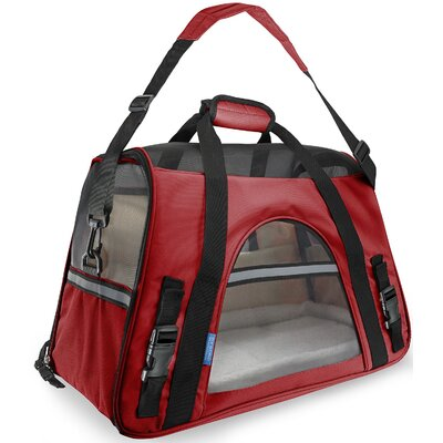 """Pet Carrier with Fleece Bed Airline Approved Color: Red, Size: 19"""" H x 13"""" W x 10"""" D"""