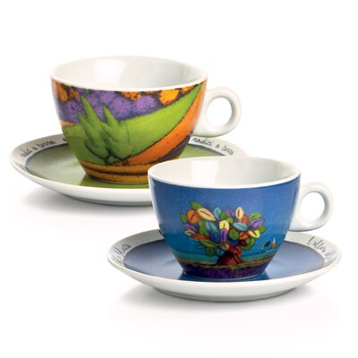 Egan 4 Piece Tree of Happiness and Terra Cielo Cappuccino Cup with Saucer Set