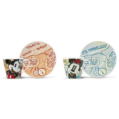Egan 4 Piece Mickey and Minnie Espresso Cup Set