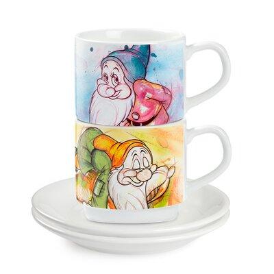 Egan 4 Piece Espresso Cup Bashful and Sleepy with Saucer Set