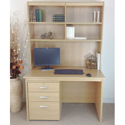 Home Office UK Computer Desk with Filing Cabinet and Hutch