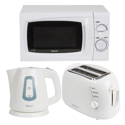 Igenix 20L 700 W Countertop Microwave with Kettle and 2 Slice Toaster in White
