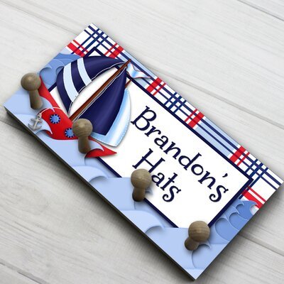 Sail Boat Nautical Boys Personalized Hat Holder