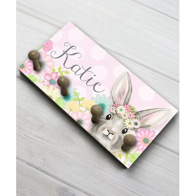 Floral Bunny Personalized Wall Mounted Coat Rack