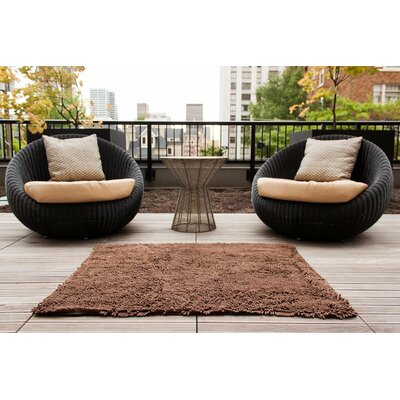"""Chenille Bath Rug Rug Size: 2'4"""" x 3', Color: Brown"""