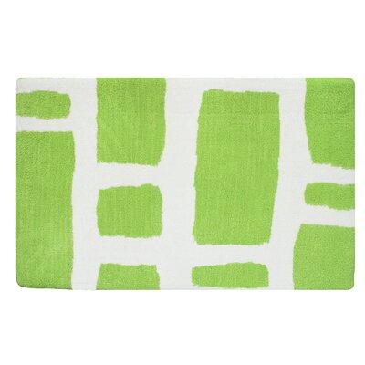 Modern Memory Foam Bath Rug Color: Spring Green/White