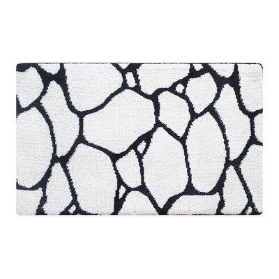 Stones Memory Foam Bath Rug Color: Black/White