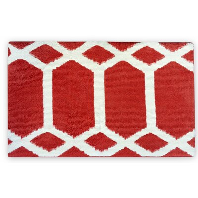 Trellis Memory Foam Bath Rug Color: Red/White
