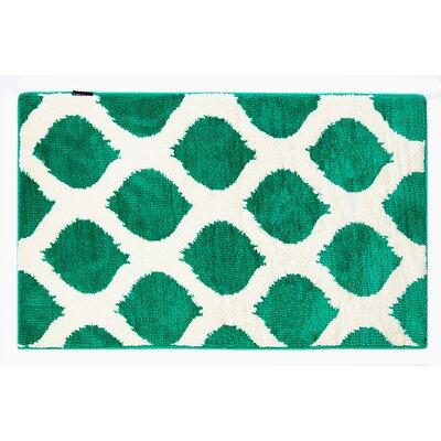 Emerald/White Smooth Ikat Memory Foam Bath Rug