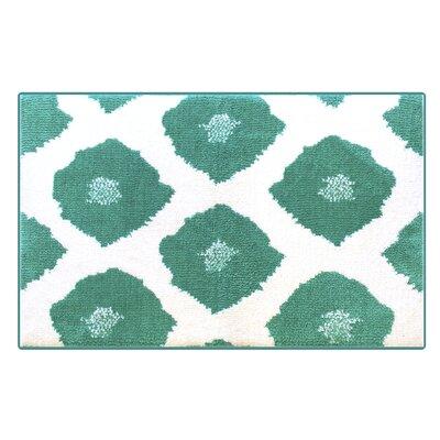 Dyed Ikat Memory Foam Bath Rug Color: Emerald/White