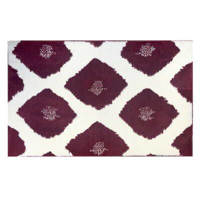 Dyed Ikat Memory Foam Bath Rug Color: Red/White