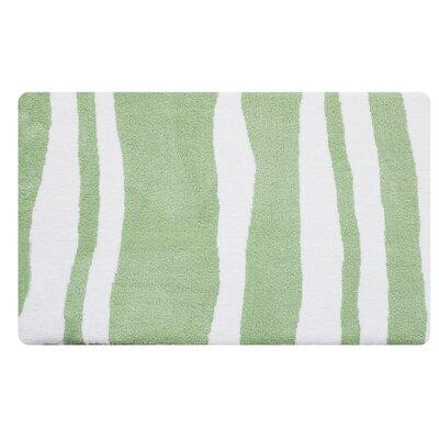 Wavy Memory Foam Bath Rug Color: Jade Green/White