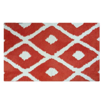 Red/White Diamonds Memory Foam Bath Rug