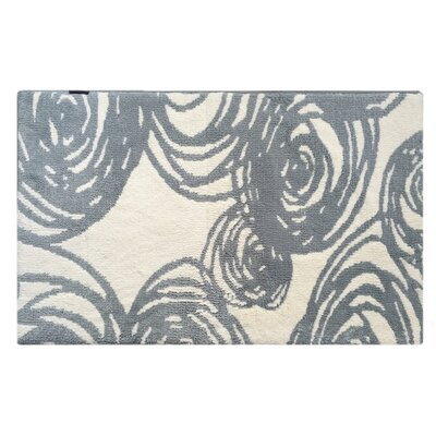 Abstract Swirls Memory Foam Bath Rug Color: Gray/Blue
