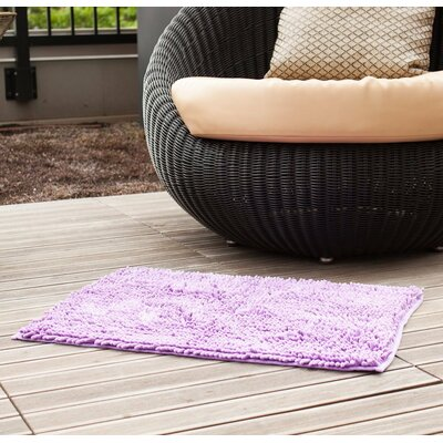 "Chenille Bath Rug Rug Size: 1'6"" x 2'4"", Color: Lavender"
