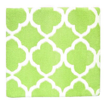 Quatrefoil Memory Foam Bath Rug Color: Spring Green/White