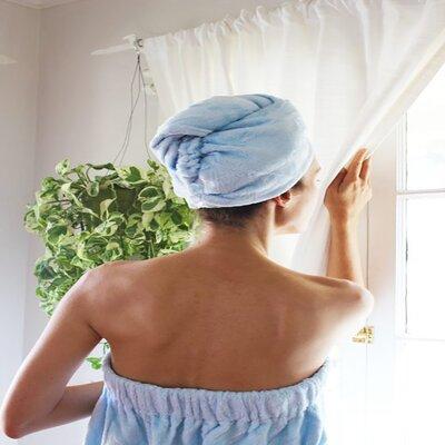 Turban Bath Wrap and Hair Set Color: Blue