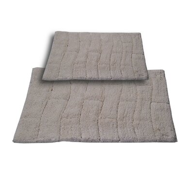 """Brooks 2 Piece 100% Cotton New Tile Spray Latex Bath Rug Set Size: 24"""" H X 17"""" W and 30"""" H X 20"""" W, Color: Ivory"""