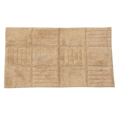 "Nathen 100% Cotton Chakkar Board Spray Latex Back Bath Rug Color: Natural, Size: 40"" H X 24"" W"