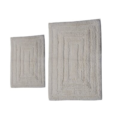 """Irving 2 Piece 100% Cotton Racetrack Spray Latex Bath Rug Set Size: 30"""" H X 20"""" W and 40"""" H X 24"""" W, Color: Ivory"""