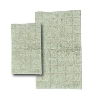 "Tanner 2 Piece 100% Cotton Summer Tile Spray Latex Bath Rug Set Size: 24"" H X 17"" W and 30"" H X 20"" W, Color: Light Sage"